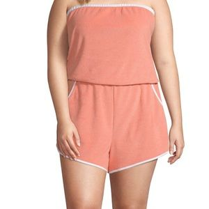 Sleeveless Romper - Burnt Coral with White Trim